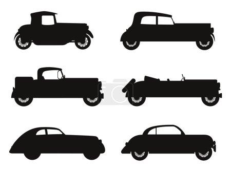 set icons old retro car black silhouette vector illustration