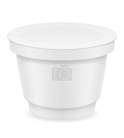 white plastic container of yogurt or ice cream vector illustrati