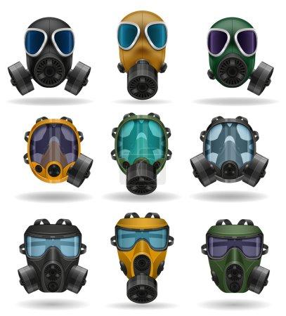 Illustration for Set icons gas mask vector illustration isolated on white background - Royalty Free Image