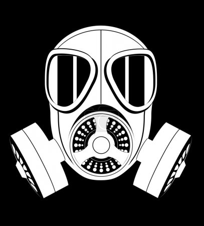 Illustration for Icon gas mask black and white vector illustration isolated on white background - Royalty Free Image