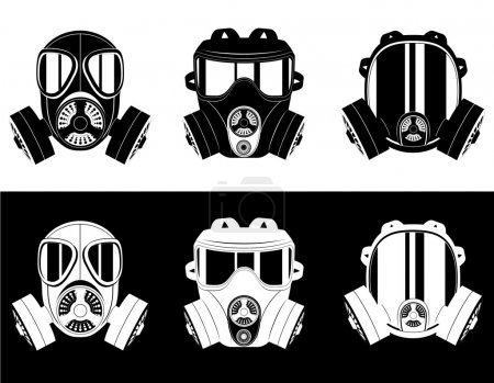 Illustration for Icons gas mask black and white vector illustration isolated on white background - Royalty Free Image