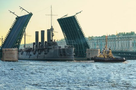 Photo for Passage of cruiser Aurora under the Palace Bridge, St. Petersburg, Russia - Royalty Free Image