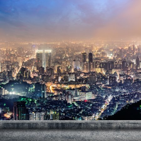 Photo for Taipei city night scenery with concrete ground and nobody. - Royalty Free Image