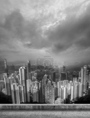 Photo pour Toits de ville de Hong Kong avec des gratte-ciel. - image libre de droit