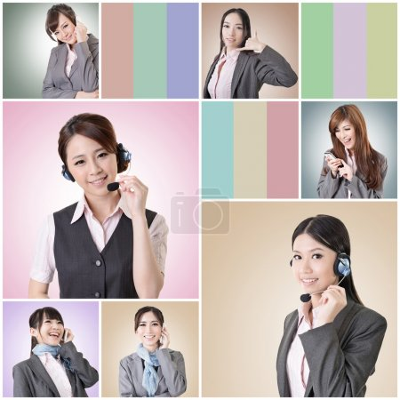 Photo for Collection of Asian business woman talk and listen, concept about connect, social media, group, speak etc. - Royalty Free Image