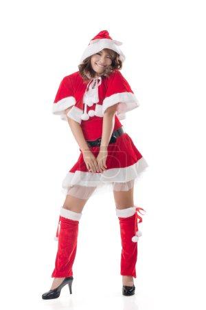 Photo pour Attrayant dame de Noël de femme asiatique, portrait pleine longueur . - image libre de droit
