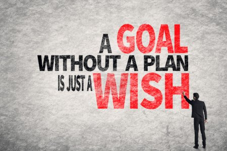 Photo for Asian business man write words on wall, A Goal without a Plan is Just a Wish - Royalty Free Image