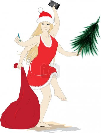 Illustration for Vector illustration with Sexy  many-armed  Kali Santa - Royalty Free Image