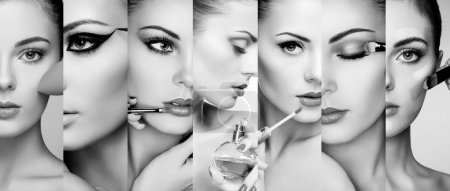 Photo for Beauty collage. Faces of women. Fashion photo. Makeup artist applies lipstick and eye shadow. Woman applying perfume - Royalty Free Image