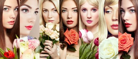 Photo for Beauty collage. Faces of women. Beautiful women with flowers. Fashion photo - Royalty Free Image