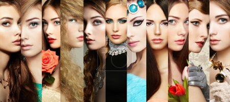 Beauty collage. Faces of women. Group of people. F...