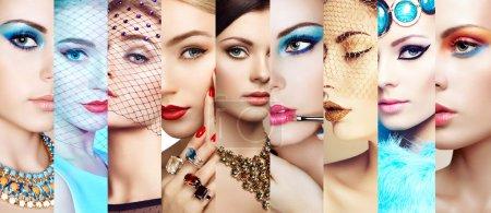 Collage beauté. Visages des femmes