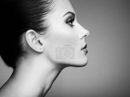 Photo for Beautiful woman face. Perfect makeup. Beauty fashion. Eyelashes. Cosmetic Eyeshadow. Black and white - Royalty Free Image