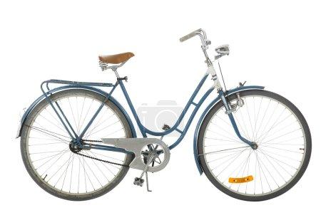 Photo pour Bleu Vélo à l'ancienne isolé sur fond blanc - image libre de droit