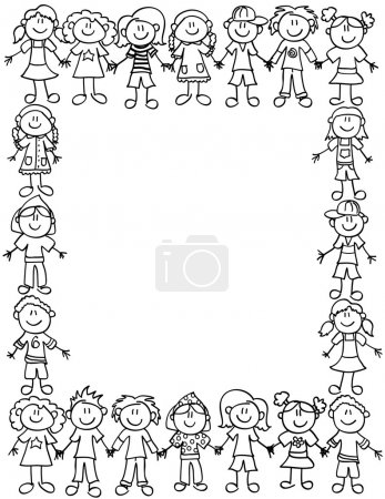 Illustration for Frame or page border of cute kid cartoon characters holding hands - black outline - Royalty Free Image