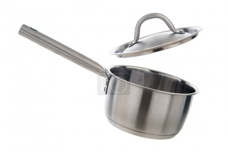 Photo for Stainless steel cooking pot with lid opened, isolated on white background - Royalty Free Image