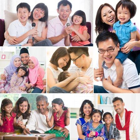 Photo pour Collage photo de famille métissée qui s'amuse à l'intérieur style de vie. Toutes les photos m'appartiennent. . - image libre de droit