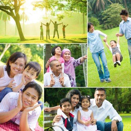 Photo pour Collage photo de famille métissée qui s'amuse au parc extérieur. Toutes les photos m'appartiennent. . - image libre de droit