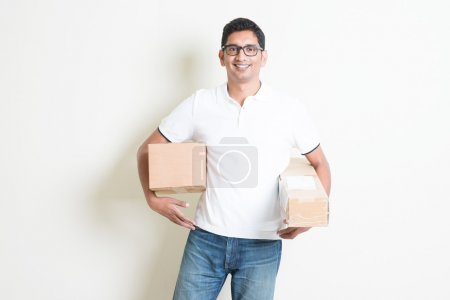 Courier delivers boxes