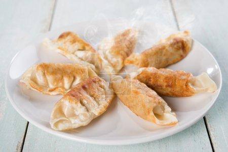 Asian meal pan fried dumplings