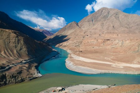 Zanskar and Indus rivers view