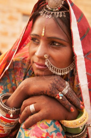 Photo for Portrait of an Indian Rajasthani woman, India - Royalty Free Image