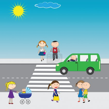 Illustration for Illustration of people crossing the street in the city - Royalty Free Image
