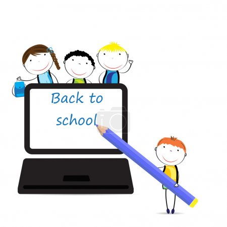 Illustration for Happy girls and boys back to school - Royalty Free Image