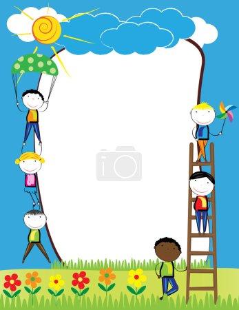 Illustration pour Cadre coloré avec des filles et des garçons heureux - image libre de droit