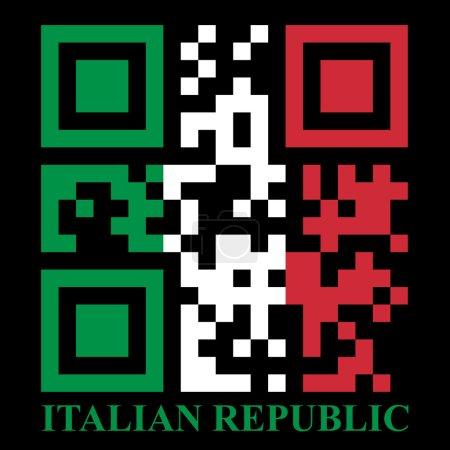 Illustration pour Illustration du drapeau QR code italien - image libre de droit
