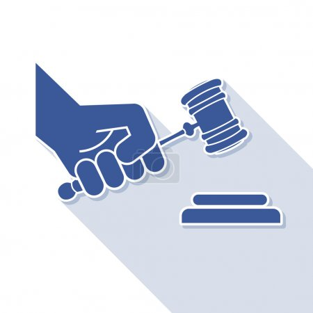 Judge gavel in hand symbol