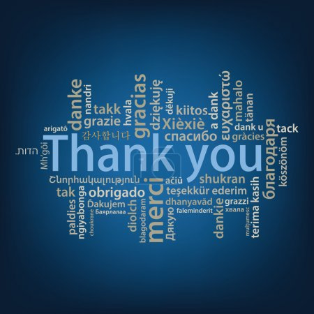 Illustration for Thank You tag cloud in different languages vector illustration - Royalty Free Image