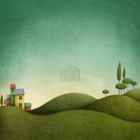 Photo pour Fond avec paysage vert pour des illustrations de contes de fées - image libre de droit
