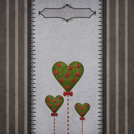 card with striped frame and hearts