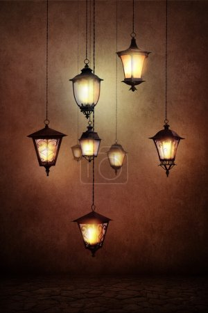Photo for Fantasy illustration or poster or background for card with street lamps - Royalty Free Image