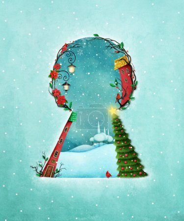 Photo for Holiday greeting card or poster for Christmas or New Year with keyhole and winter landscape - Royalty Free Image