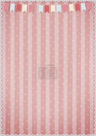 Pink background with flags.