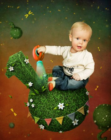 Little boy with  watering can