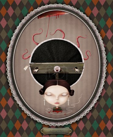 Photo for Conceptual illustration of   girl and  guillotine. Computer graphics. - Royalty Free Image