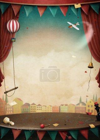 Photo pour Fond clair avec divers objets de cirque pour des illustrations et des affiches. Infographie. - image libre de droit
