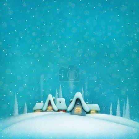Photo pour Arrière-plan avec paysage hivernal et maisons. Graphiques informatiques . - image libre de droit