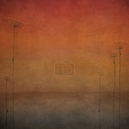 Photo for Textured red pastel background with umbrella flowers - Royalty Free Image