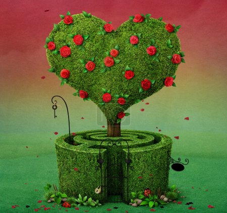 Photo for Fairy tale illustration with flowering tree in shape of heart and labyrinth - Royalty Free Image