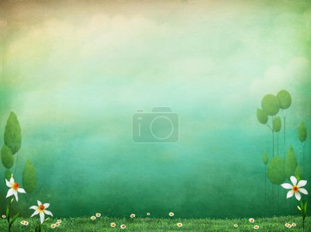 Photo for Pastel textured background with flowers and green grass - Royalty Free Image