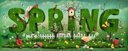Photo pour Belle illustration de printemps festive sur la fête des mères et Pâques avec des arbres - image libre de droit