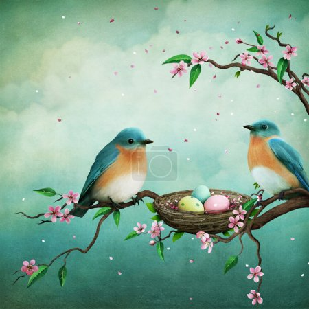 Photo for Greeting card or illustration for Easter with blue birds and eggs in nest - Royalty Free Image