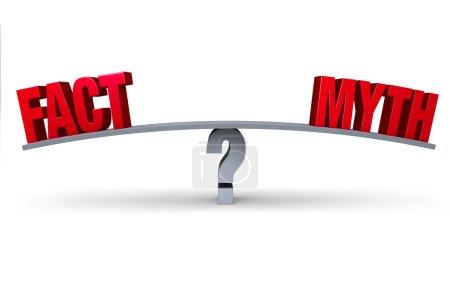 """Photo pour Un """"FAIT"""" rouge et un """"MYTHE"""" rouge sont assis aux extrémités opposées d'un tableau gris équilibré sur un point d'interrogation gris. Isolé sur blanc . - image libre de droit"""