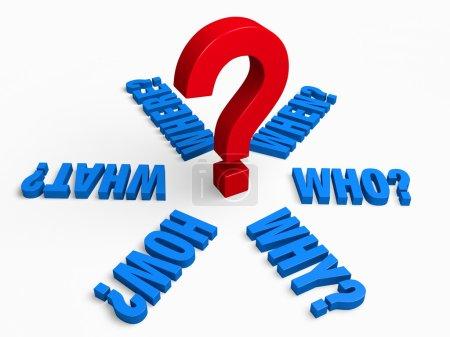 Photo pour Les mots, « Qui? », « Quoi? », « Où? », « Quand? », « Comment? » et « Pourquoi? » en bleu rayonnent vers l'extérieur depuis un point d'interrogation grand, rouge. Isolé sur blanc - image libre de droit
