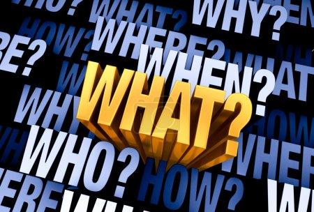 """Photo pour Un brillant, or """"Quoi?"""" émerge d'un fond gris bleu 3d rempli de """"Qui?"""", """"Quoi?"""", """"Où?"""", """"Quand?"""", """"Quand?"""", """"Comment?"""", et """"Pourquoi?"""" à différentes profondeurs - image libre de droit"""