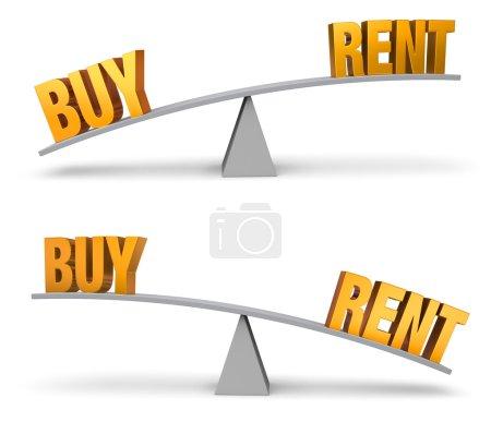 """Photo pour Ensemble de deux images. Dans chacun d'eux, un or """"Acheter"""" et """"Rent"""" se trouve aux extrémités opposées d'un tableau d'équilibre gris. Dans une image, """"Acheter"""" l'emporte sur """"Rent"""" dans l'autre, """"Rent"""" l'emporte sur """"Acheter"""". Isolé sur le blanc. - image libre de droit"""